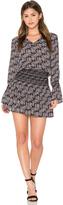 Derek Lam 10 Crosby Long Sleeve Smocked Skirt V Neck Dress