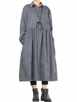 Mallimoda Women's Corduroy Pleated Doll Dresses Swing Long Sleeve Robe Navy M