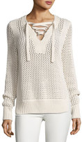Derek Lam 10 Crosby Crochet Lace-Up Pullover Sweater, Natural