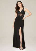 Bebe Desi Lace Applique Gown