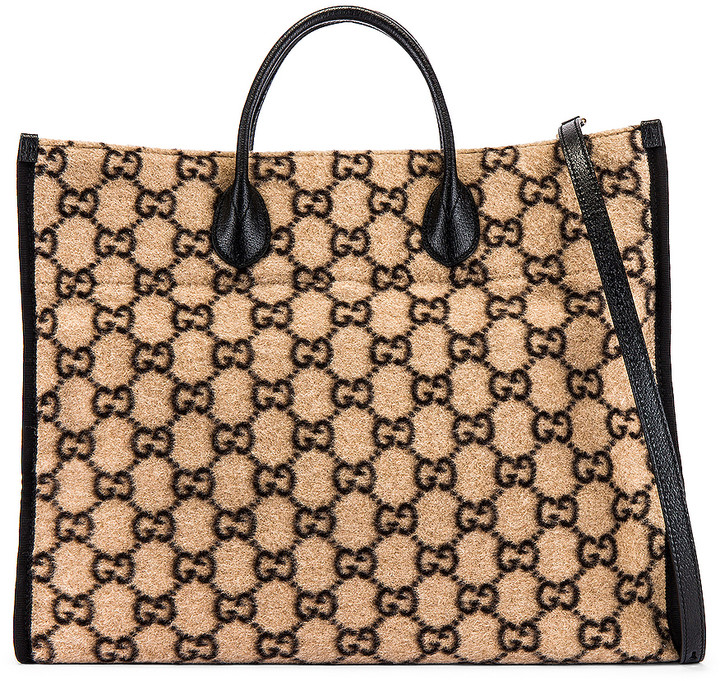 Gucci Tote Bag in Beige Ebony & Black | FWRD
