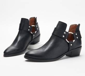 Frye Leather Back-Zip Ankle Boots - Ray Harness