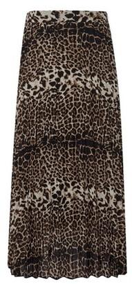 Dorothy Perkins Womens Black Leopard Print Pleat Midi Skirt
