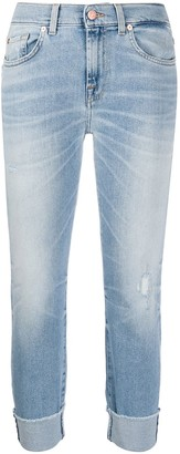 7 For All Mankind Mid Rise Cropped Skinny Jeans