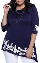 Belldini Asymmetric Floral Appliqué Tunic