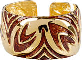 Kenneth Jay Lane Gold-Plated Brown Patterned Cuff
