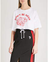 The Kooples Printed cropped cotton-jersey T-shirt