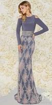 Mac Duggal Long Sleeve Cold Shoulder Jersey Column Evening Dress