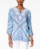 Charter Club Petite Cotton Embroidered Printed Tunic, Created for Macy's
