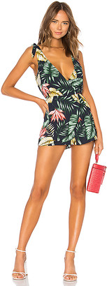 superdown Penelope Palm Front Wrap Romper