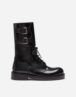 Dolce & Gabbana Polished Calfskin Combat Boots