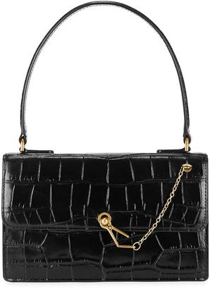 STAUD Jackie crocodile-effect leather top handle bag