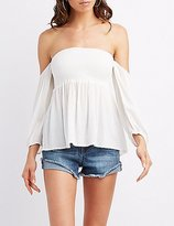 Charlotte Russe Smocked Off-The-Shoulder Peplum Top