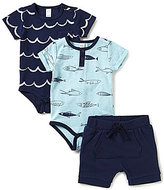 Petit Lem Baby Boys 3-24 Months 3-Piece Nautical Waves and Fish Layette Set