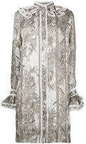Roberto Cavalli frill detail floral shirt dress