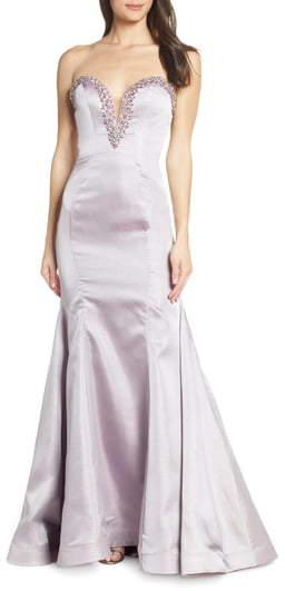 Mac Duggal Beaded Bustier Bodice Evening Dress
