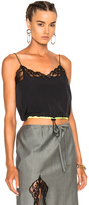 Alexander Wang Cropped Camisole with Lace in Black.