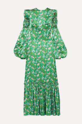 The Vampire's Wife Shirred Floral-print Silk-satin Maxi Dress - Green