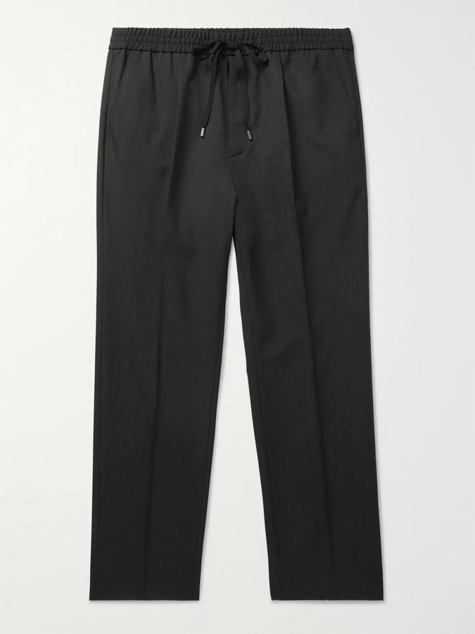 b5a0b65f1c Charcoal Cropped Wool Drawstring Trousers