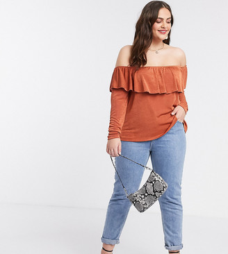 ASOS DESIGN Curve off shoulder ruffle top in rust