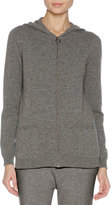 Agnona Cashmere Zip-Front Hoodie Sweater, Charcoal