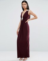 TFNC Gathered Fabric Maxi Dress