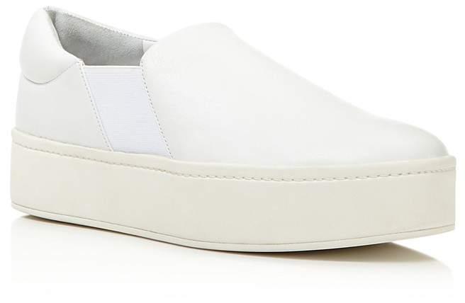 Vince Warren Leather Platform Slip-On Sneakers