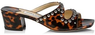 Jimmy Choo Jacci Square-Toe Embellished Tortoiseshell Patent Leather Mules