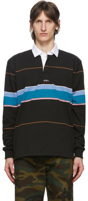 Noah NYC Black Striped Rugby Polo