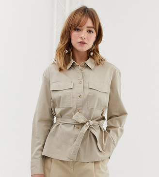 Monki utility shirt with tie waist detail in beige