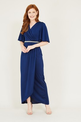Yumi Pearl Belt Detail Wrap Front Maxi Dress