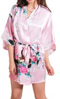 Geval Women's Printed Kimono Robe Satin Pajamas Short Nightgown(,L)