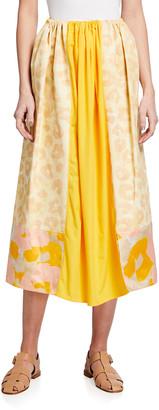 Marni Folk-Style Drawstring Long Skirt, Camel