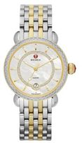 Michele CSX Elegance Diamond, Mother-Of-Pearl & 18K Goldplated Two-Tone Stainless Steel Bracelet Watch