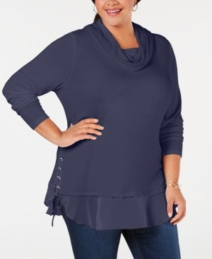 Belldini Belle by Plus Size Lace-Up Cowl-Neck Sweater