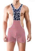 S Forever Men's American Flag Sport Bodysuit Wrestling Singlet Leotard