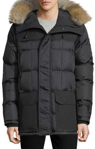 a851f2609c Mens Coyote Fur Hood Trimmed Coat - ShopStyle
