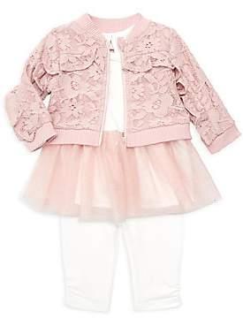 Miniclasix Baby Girl's Three-Piece Jacket, Top & Leggings Set