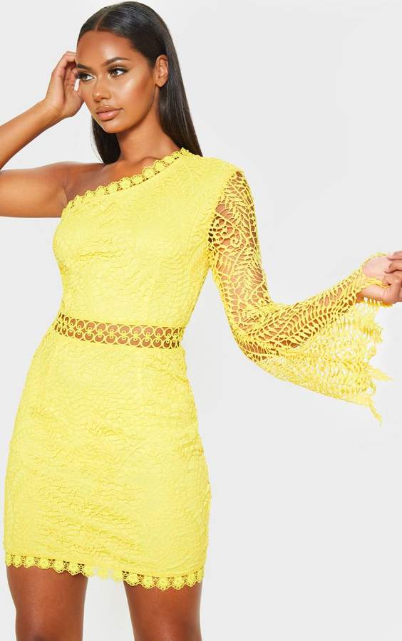 PrettyLittleThing Bright Yellow One Shoulder Lace Bodycon Dress
