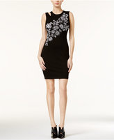 GUESS Nicola Floral-Embroidered Open-Back Dress