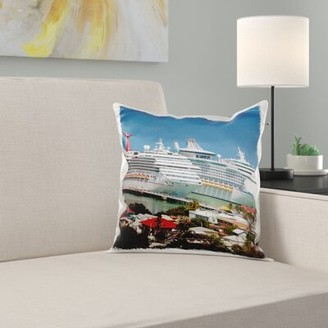 Antigua East Urban Home Antigua, St Johns, Heritage Quay, Cruise Ship Area Pillow Cover East Urban Home