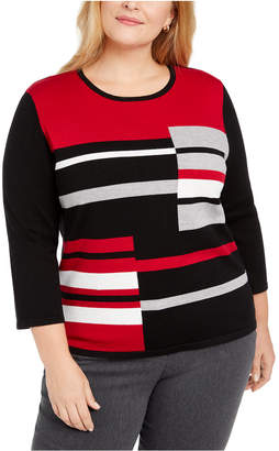 Alfred Dunner Plus Size Classics Colorblocked Sweater
