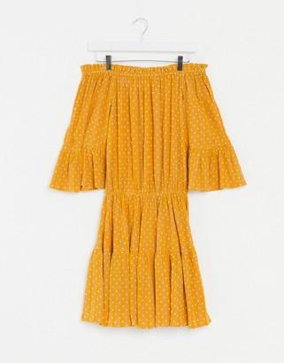ASOS DESIGN off shoulder tiered mini sundress in mustard polka dot