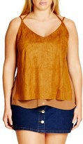 City Chic Faux Suede Layered Camisole (Plus Size)