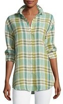 Lafayette 148 New York Sabira Long-Sleeve Windowpane Blouse w/ Chain Detail, Multi, Plus Size