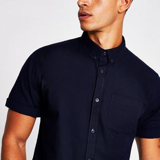 River Island Mens Navy short sleeve regular fit oxford shirt