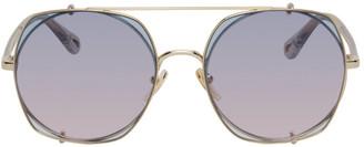 Chloé Gold and Blue Demi Clip-On Pilot Sunglasses