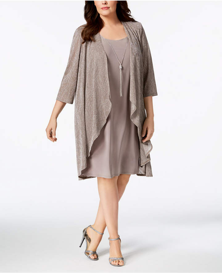 Plus Size Metallic Dress and Jacket