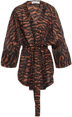 The Upside Evie Tiger-print Cotton And Silk-blend Kimono