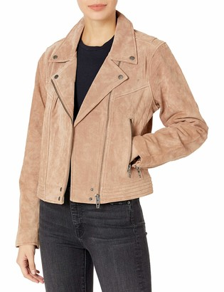 Blank NYC womens Suede Moto With Zipper Pocket Detail Jacket